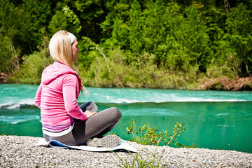 Fitness Woman relaxing outdoor