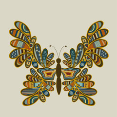 Card with colorful stylized  butterfly
