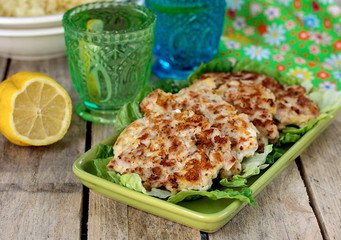 Chicken chopped cutlets with salad