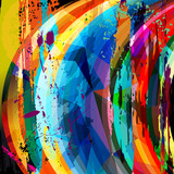 abstract background composition, with strokes, splashes, stripes - 71128460