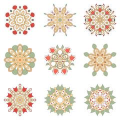 Set of nine floral circular design elements