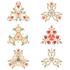 Vector set of six floral elements