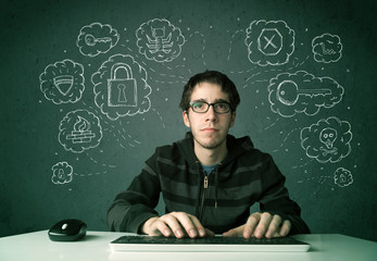 Young nerd hacker with virus and hacking thoughts