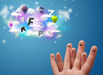 Happy smiley fingers looking at colorful magical clouds and ball
