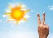 Cheerful finger smileys with bright sun and clouds illustration