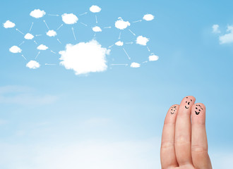 finger smiley with cloud network system