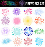 Fototapety Colorful Fireworks on white background