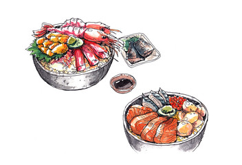 hokkaido seafood, japanese food watercolor illustration
