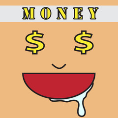 vector quote sign face greed money