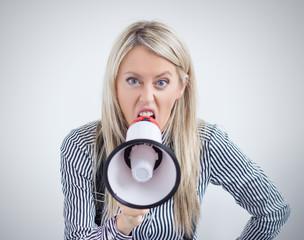Woman screaming on megaphone