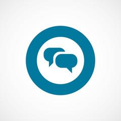 Conversation bold blue border circle icon.