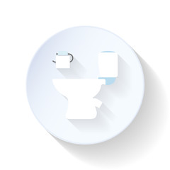 Toilet with paper flat icon
