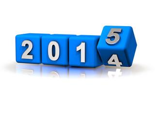 2014 > 2015 Würfel Perspektive Silvester Banner blau