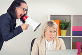 Boss yelling at employee on megaphone