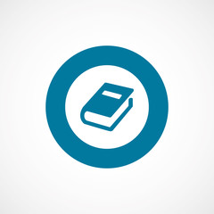 book bold blue border circle icon.