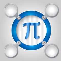 blue circular frame for text and pi symbol