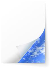 Cloudy sky under a sheet of paper.