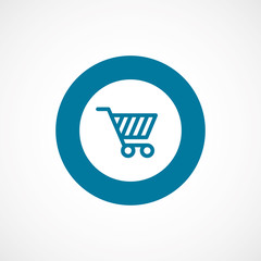 shopping cart bold blue border circle icon.