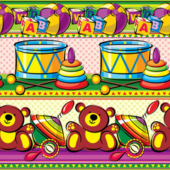 children toys on a striped background