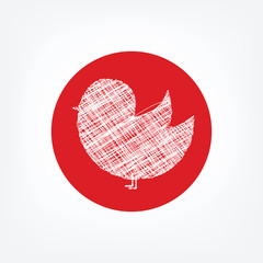 Doodle bird icon in red circle on white background
