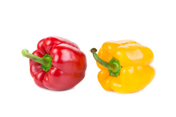 Sweet red and yellow peppers.