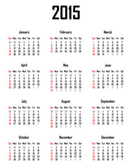 Calendar for 2015 - week starts with sunday