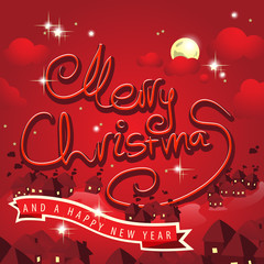 Merry Christmas Lettering, Cartoon Background