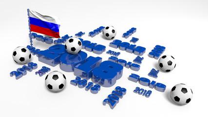 2018 Russian Flag and Footballs