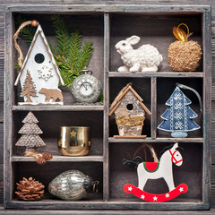 Christmas decoration in a wooden vintage box. Christmas collage