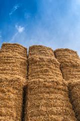 Bale of Hay Straw,Blue Sky