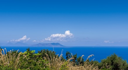 Aeolian islands,view from archaeological site,Tindari.