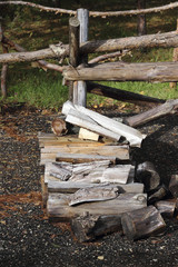 Pile of chopped  firewood