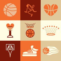 basketball icons vector set