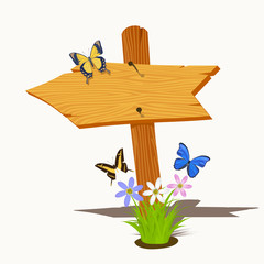 Wooden arrow with flowers and butterflies. Vector illustration