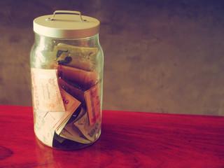 money in bottle vintage color tone