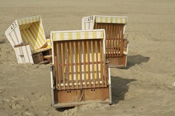 Strandkörbe auf einer friesischen Insel