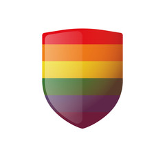 Shield with a gay pride flag