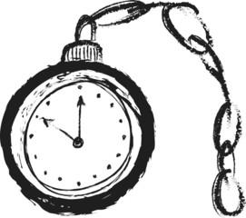 doodle old pocket watch