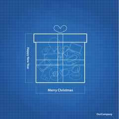 Vector Christmas gift sketch with blueprint background. Original