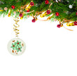 Christmas tree branch with gold serpentine and vintage sphere on