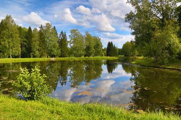 summer lake landscape in park