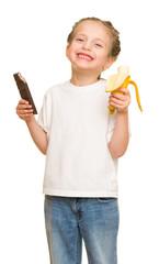 little girl eat banana and chocolate
