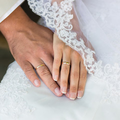 Hands of bride and groom with wedding rings