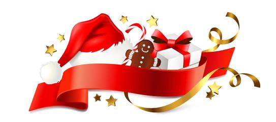 Signet mit Nikolaus-Mütze u. Geschenken - Weihnachten