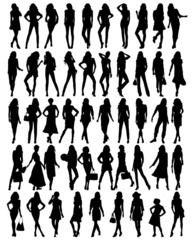 Silhouettes of young pretty women .