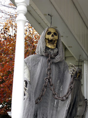 Ghoul porch figure to scare the kids on Halloween.