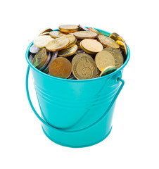 a full bucket of coins