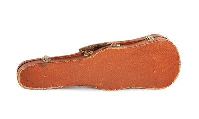 Old case with the violin isolated on a white background