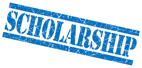 scholarship blue square grunge textured isolated stamp