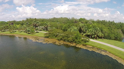 Tropical lake and park aerial view from Florida